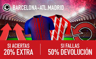 Sportium: Barça vs. At. Madrid. Si aciertas +20% EXTRA; Si fallas +50% DEVOLUCIÓN