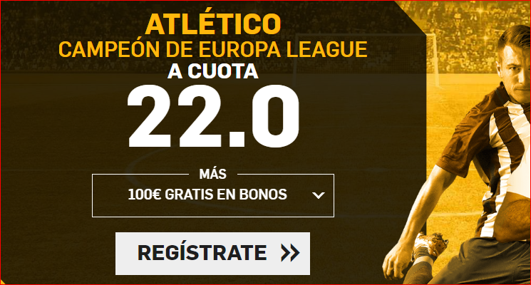 Betfair: At. Madrid @22.0 si es campeón de la Europa League; +100€ GRATIS