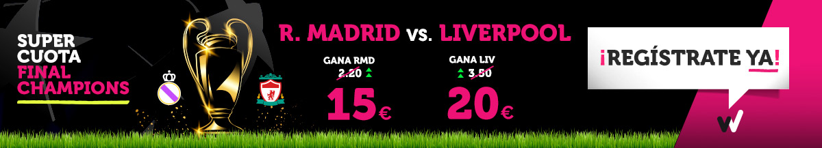 Wanabet: Final Champions ¿Real Madrid @15.0 vs. Liverpool @20.0? + 200€