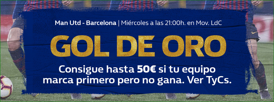 William Hill: Man United vs. FC Barcelona. Llévate hasta 50€ si tu equipo pierde