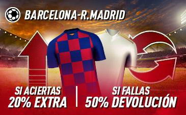 Sportium: FC Barcelona vs. Real Madrid. Si aciertas +20% EXTRA; Si fallas +50% DEVOLUCIÓN