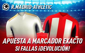 Sportium: Real Madrid – Ath. Bilbao. Apuesta a 'Marcador Exacto'… Si fallas ¡Devolución!