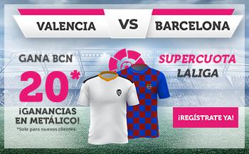 Wanabet: Valencia vs Barça @20.0 + 100€