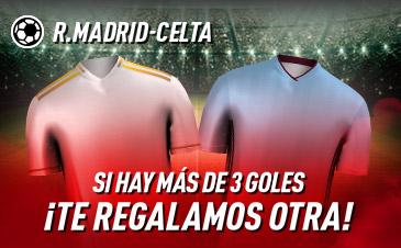 Sportium: Real Madrid vs. Celta. Si se marcan 3 o más goles ¡Devolución!