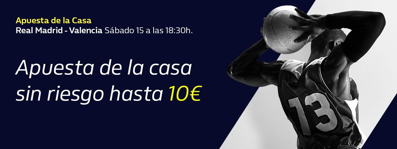 William Hill: Real Madrid - Valencia Basket. Hasta 10€ en directo sin riesgo