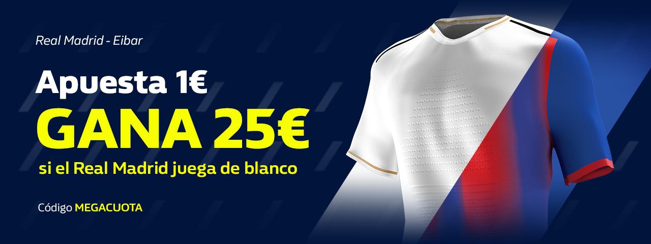 William Hill: Real Madrid - Éibar. 25€ GRATIS con la MEGACUOTAS