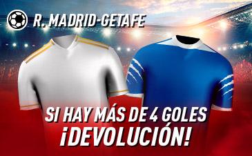 Sportium: R. Madrid - Getafe. Si se marcan más de 4 goles ¡Devolución!