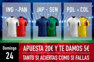 Sportium: Mundial – Domingo 24. Apuesta y te damos 5€ ¡¡¡GRATIS!!!