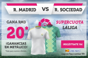 Wanabet: Real Madrid @20.0 vs. Real Sociedad + 100€