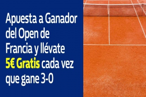 William Hill: Roland Garros. Si tú favorito gana 3-0, 5€ GRATIS