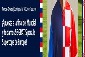 William Hill: Francia vs. Croacia. Apuesta 10€ y llévate 5€ GRATIS