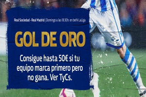 William Hill: Real Sociedad vs. Real Madrid. Llévate hasta 50€ si tu equipo pierde