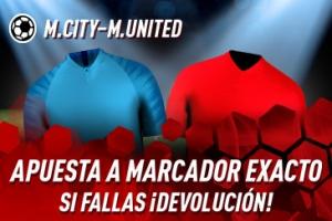 Sportium: M.City vs. M.United. Apuesta a 'Marcador Exacto'… Si fallas ¡Devolución!