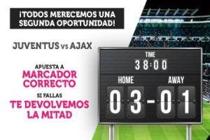 Wanabet: Juventus vs. Ajax. Apuesta a marcador correcto y si fallas… ¡Devolución!