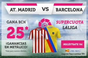 Wanabet: At. Madrid vs. FC Barcelona @25.0 + 100€