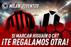 Sportium: Milán vs. Juventus. Si marcan Higuaín o C.Ronaldo ¡Devolución!