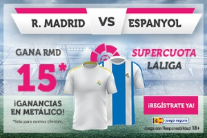 Wanabet: Real Madrid @15.0 vs. Espanyol + 100€