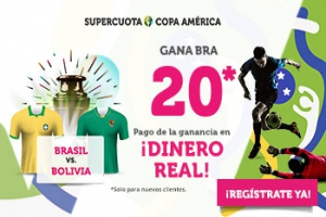Wanabet: Brasil @20.0 vs. Bolivia + 100€
