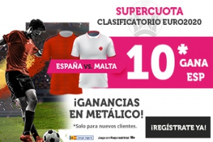 Wanabet: España @10.0 vs. Malta + 100€