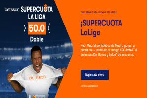 Betsson: R. Madrid - At. Madrid. Doble supercuota 50.0 -> https://todoapuestas.com/go/supercuotabetsson