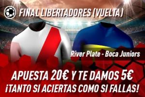 Sportium: River vs. Boca (Libertadores). Haz tú apuesta y te damos 5€ ¡¡¡GRATIS!!!