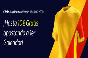 William Hill: Cádiz vs. Las Palmas. Apuesta a 1er Goleador y llévate 10€ GRATIS