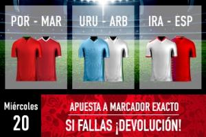 Sportium: Mundial – Miércoles 20. Apuesta a 'Marcador Exacto'… Si fallas ¡Devolución!