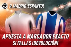 Sportium: Real Madrid – Espanyol. Apuesta a 'Marcador Exacto'… Si fallas ¡Devolución!