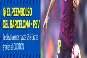 William Hill: Barça vs. PSV. Devolución de hasta 25€