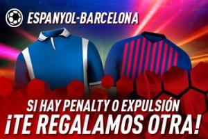 Sportium: Espanyol vs. Barça. Si hay penalti o expulsión… ¡Devolución!