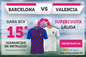 Wanabet: FC Barcelona @15.0 vs. Valencia + 100€
