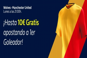 William Hill: Wolves vs. Manchester United. Apuesta a 1er Goleador y llévate 10€ GRATIS