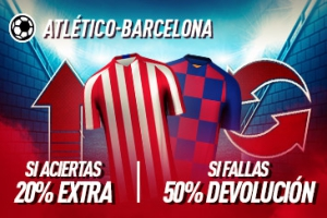 Sportium: At. Madrid vs. FC Barcelona. Si aciertas +20% EXTRA; Si fallas +50% DEVOLUCIÓN