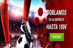 Sportium: Doblamos tu primer depósito hasta 100€ y te damos 1 apuesta 5€ GRATIS cada semana
