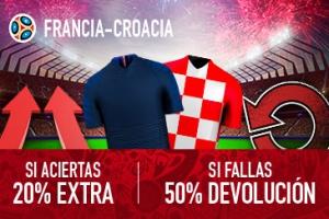 Sportium: Francia vs. Croacia. Si aciertas +20% EXTRA; Si fallas +50% DEVOLUCIÓN