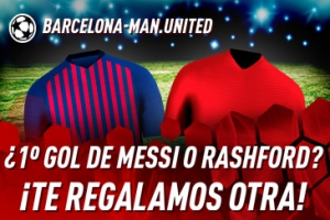 Sportium: FC Barcelona vs. Manchester United. Si Messi o Rashford marcan el 1.º gol ¡Devolución!