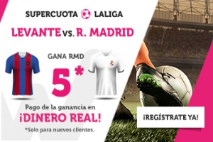 Wanabet: Levante vs. Real Madrid @5.0 + 200€