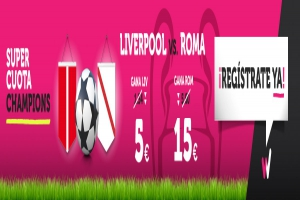 Wanabet: ¿Liverpool @5.0 vs. Roma @15.0? + 200€