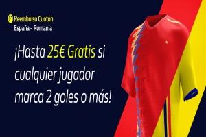 William Hill: España vs. Rumania. Si cualquier jugador marca 2 o más goles