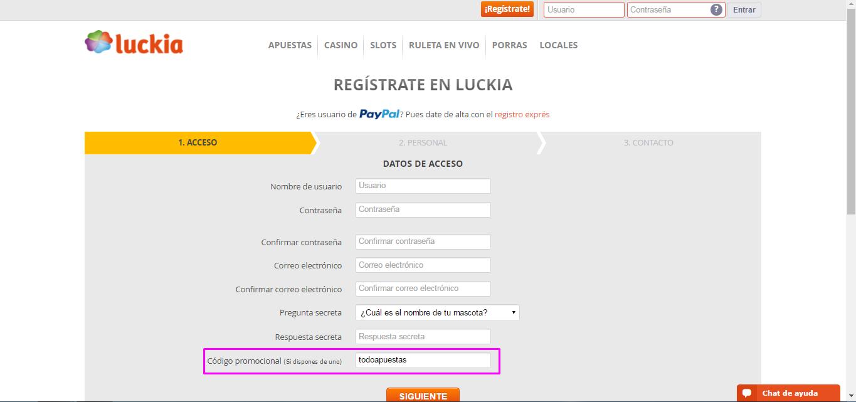 Cómo registrarse en Luckia - Paso 2