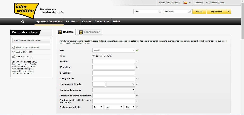 Cómo registrarse en Interwetten - Paso 2