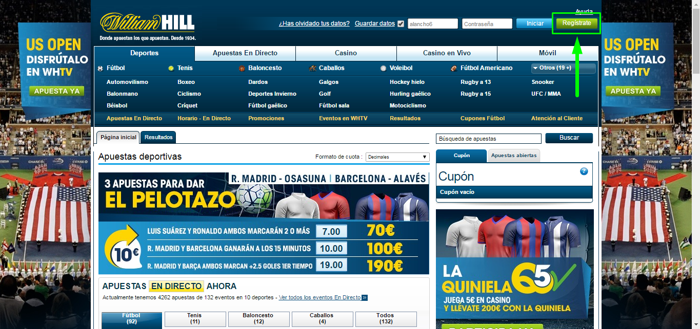 Cómo registrarse en William Hill - Paso 1